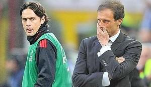 """Milan, Allegri e Pippo Inzaghi litigano: """"C'è stato uno scambio di opinioni"""""""