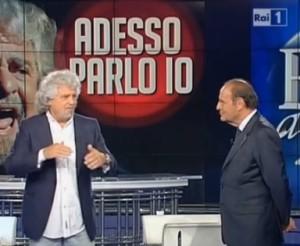 Beppe Grillo da Bruno Vespa a 'Porta a Porta': l'intervista
