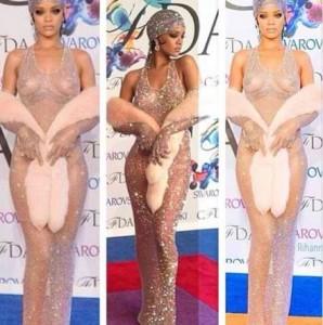 Rihanna si presenta nuda ai CFDA Awards di New York-foto