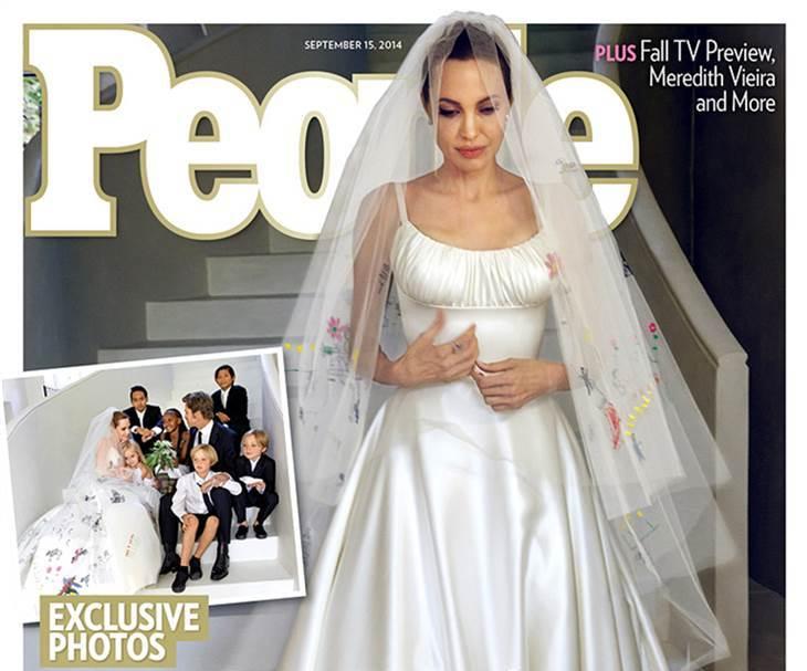 Angelina Jolie: l'abito da sposa è stato disegnato dai figli